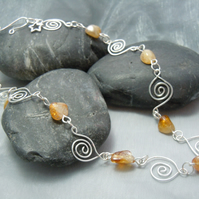 Necklace of silver plated Spirals with Citrine gemstones & Tierracast charm