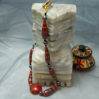 Hand painted Peruvian bead necklace & faceted semi precious Hematite beads