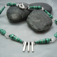 Handpainted geometric pattern Peruvian beads, clear Quartz & Hematite necklace