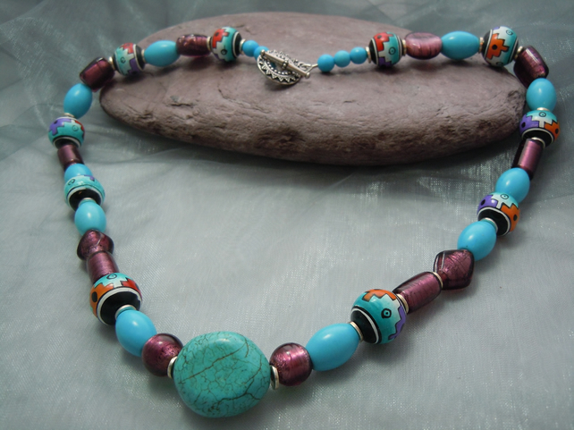 Abstract design Peruvian beads & gemstone Turquoise necklace & glass foil beads