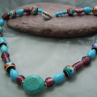 Abstract design necklace with Peruvian beads,Turquoise & glass foil beads