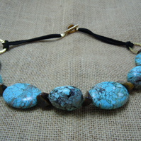 Chunky Turquoise & Tiger's Eye necklace with faux suede cord & gold plate clasp