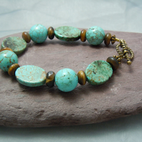 Gemstone Turquoise & Tiger's Eye bracelet with gold plate  toggle clasp