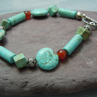 Gemstone Turquoise & red Agate bracelet with silver plate beads