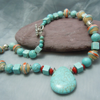 Assorted Turquoise bead necklace with Lampwork beads, glass beads & toggle clasp