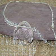 Faceted clear Crystal Quartz pendant necklace & glass bugle beads