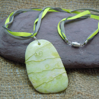 Wirewrapped Lemon Jade pendant with ribbon & faux leather cord
