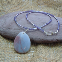 Pendant with lavender & pink oval Jasper bead with glass seed & bugle beads
