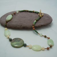 Necklace with gemstone Jade & Unakite, glass bugle beads & gold plate clasp