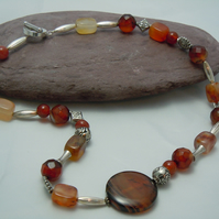 Necklace with gemstone Red Agate & silver plate beads