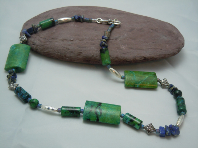 Sea green blue gemstone Chrysocolla & Lapis Lazuli necklace & silver plate beads
