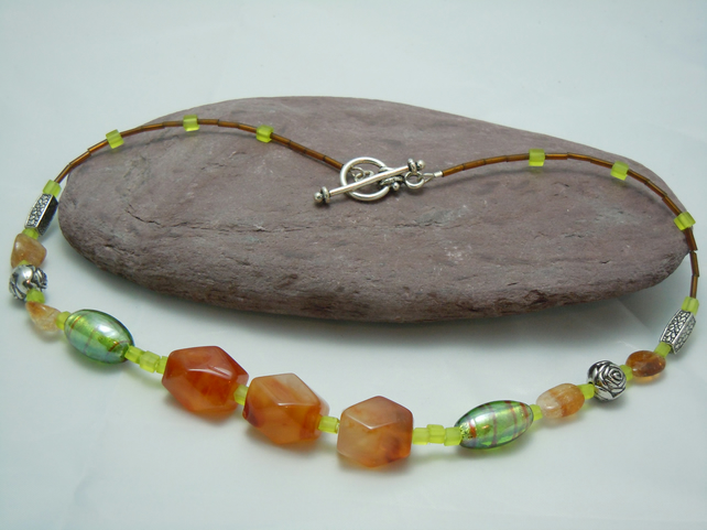 Faceted Agate & Citrine necklace with glass foil beads & silver plate beads