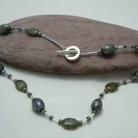 Gemstone Labradite necklace with glass seed & bugle beads