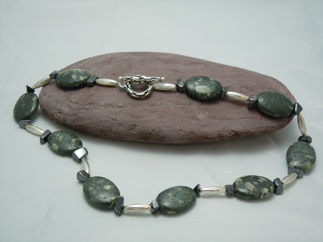 Chunky Snowflake Obsidian & Hematite bead necklace with silver plate beads