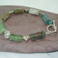 Semiprecious Indian Agate (Bloodstone) bracelet with silver plate beads