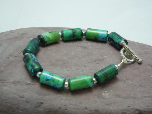 Semi-precious Chrysocolla bracelet in sea rockpool colours