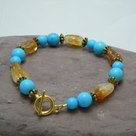 Semi-precious Turquoise & Citrine bracelet with gold plate beads & toggle clasp