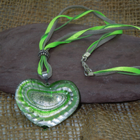 Heart shape glass foil lined pendant necklace with faux leather cords & ribbon