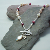 Tierracast heart necklace with pearls, mother of pearl, swarovski bead & charm