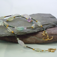 Fluorite necklace with glass & gold plate beads & Tierracast heart clasp & charm