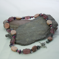 Necklace of Jasper, Hematite, amethyst, freshwater pearls & glass barrel beads