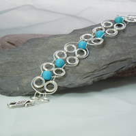 Celtic inspired Wirework & Turquoise bracelet with Tierracast clasp