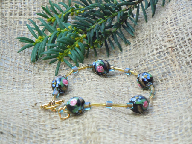 Artisan glass beads bracelet with gold plate heart charm