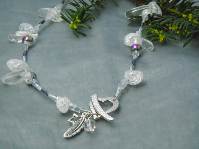 Quartz Crystal necklace with a Tierracast heart & charms & Swarovski crystal