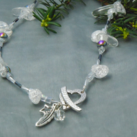 Quartz Crystal necklace with a heart toggle clasp, charms & Swarovski crystal