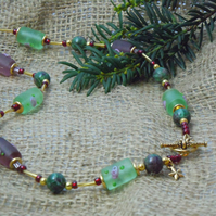 Zoisite with Ruby Necklace & flower glass beads with gold plate clasp & charm