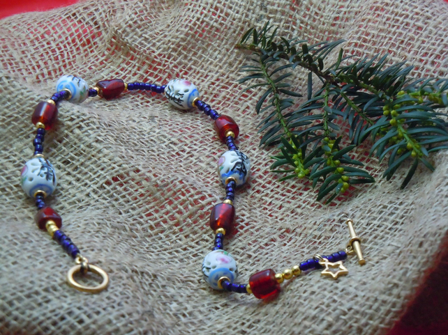 Handpainted Chinese Porcelain & glass foil beads necklace, gold plate star charm
