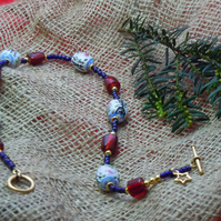 Handpainted Chinese Porcelain artisan bead necklace & glass foil beads