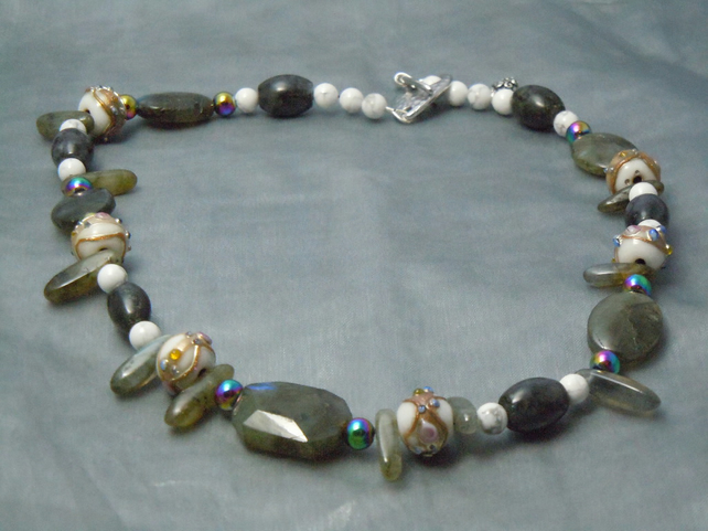 Necklace of Labradite, Hematite & Howlite gemstone beads with Lampwork beads