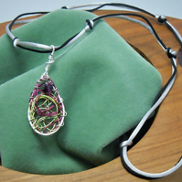 Handmade Swarovski crystal nest pendant necklace