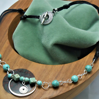 Wirework necklace with Turquoise & scalloped pendant