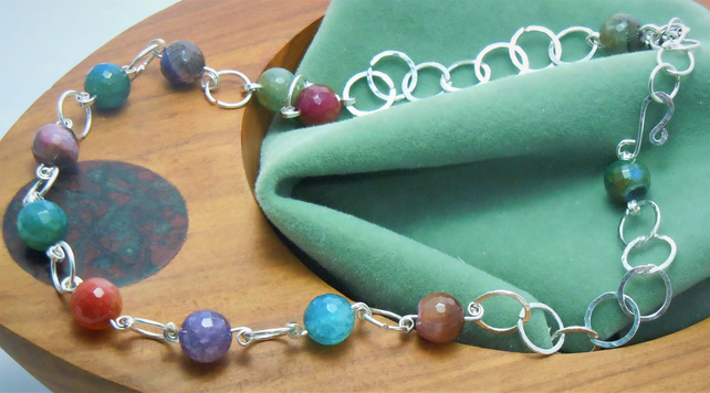 Handcrafted necklace with semi-precious faceted Indian Agate beads