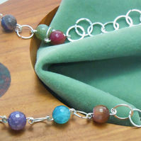 Handcrafted necklace with semi-precious facetted Indian Agate beads