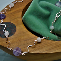 Fluorite & Rose Quartz  wiggle necklace