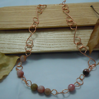 Chunky copper wirework necklace with Rhodonite beads