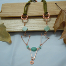 Copper triangles pendant necklace with Amazonite beads
