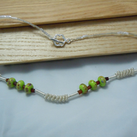 Artisan Lampwork beads & spiralled wire necklace