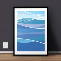 Sea Fishing A4 Giclée Print