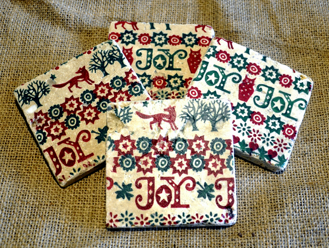 Christmas Joy Natural Stone Coaster