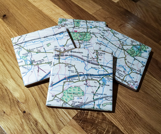 Personalised Map Ceramic Tile Coasters