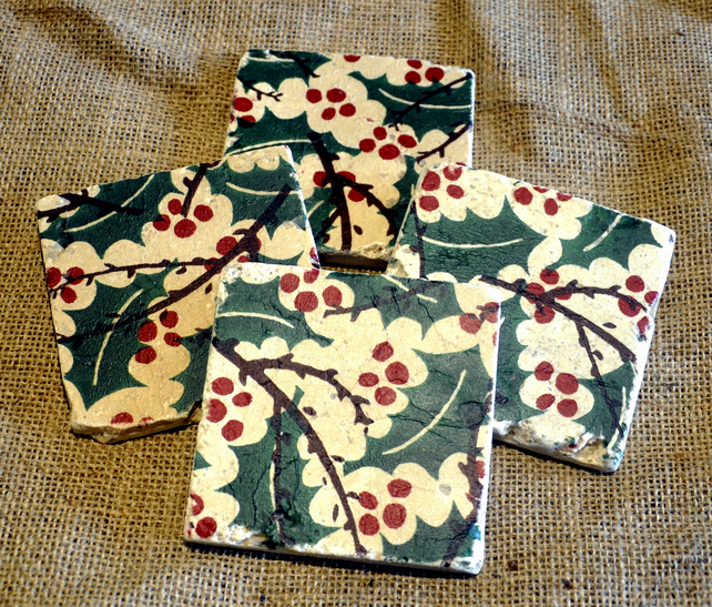 Christmas Holly Natural Stone Coaster