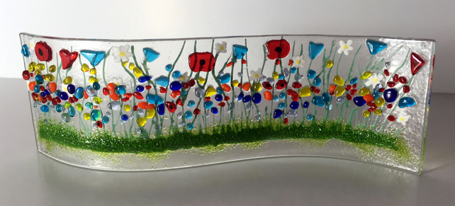 Wild Flower Fused Glass Wave