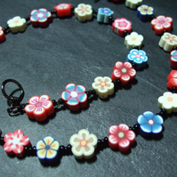 Royal Jubilee OOAK Kitsch Floral Necklace Red White & Blue