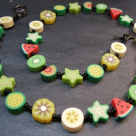Tutti Frutti Collection Tropical Fruit Salad Kitsch Polymer Clay Necklace 18 inc