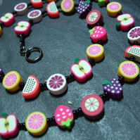 Tutti Frutti Collection Candied Fruits Kitsch Polymer Clay Necklace 18 inch
