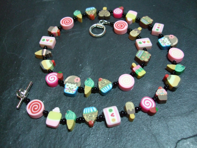 Pick n Mix Collection Sugar n Spice Kitsch Polymer Clay Necklace 18 inch